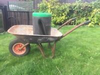 Metal wheel barrow & small plastic mixer barrel