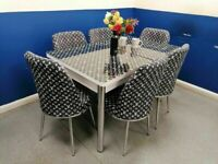 😍💕STUNNING VERSACE DINING TABLE WITH 6 CHAIRS, EXTENDING GLASS OFFER GRAB A BARGAIN 🔥🔥