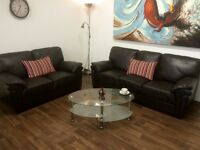 SOFAS**DARK BROWN LEATHER SUITE**EXCELLENT CONDITION**DELIVERY AVAILABLE