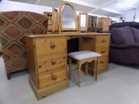 Solid Pine Dressing Table With Mirror & Stool