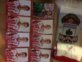 Saints hand signed photos and scalf