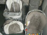 baby equipment and toys for sale including graco 3/1 pram and car seat ,bouncer and various toys