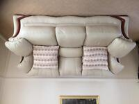 Cream Leather 3 seater & 2 Armchairs in vgc
