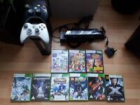 xbox 360 E 120gb, 2 controllers, kinect plus 9 games good condition