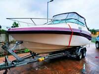 Crownline motor boat. Motor cruiser. Diesel inboard. Twin axle trailer