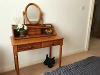 Pine dressing table/desk and mirror in excellent condition