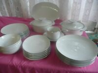 Vintage Dinner set By Thomas W Germany White with Platinum Trim