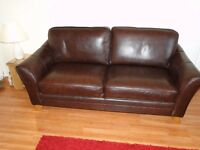 University Season Special - Excellent Condition Brown-Leather Sofa & Chair