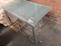 Glass computer desk used in Good condition