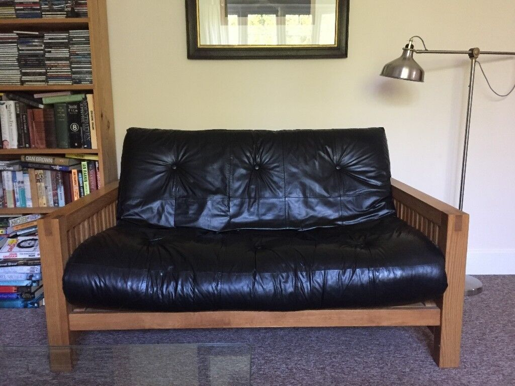 Futon Company Solid Oak Sofa Bed With Supple Leather Mattress 199