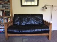 Futon Company - Solid Oak Futon Sofa Bed with supple Leather mattress - £199