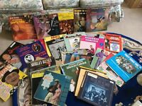 Box of over 40 old vinyl records assorted