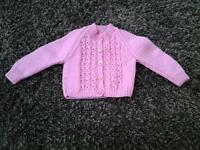 Baby girls brand new hand knitted pink cardigan