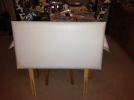 Headboard for Single Bed, White Leather Look