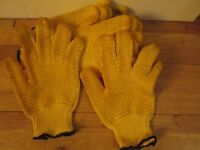 Yellow Gripper Gloves Criss-Cross Rubber Coat Construction & General Use