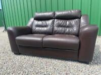 DELIVERY INCLUDED - TWO SEATER BROWN LEATHER SOFA SETTEE