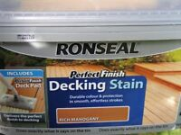 Ronseal Perfect Finish Decking Stain Rich Mahogany 2.5L Brand New Sealed Tub