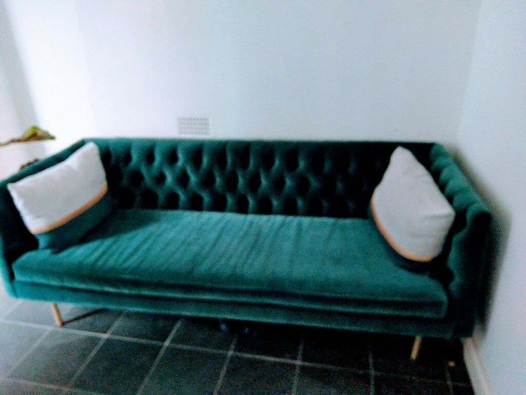 Made Com Julianne 3 Seater Petrol Blue Cotton Velvet Couch In