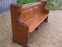 VICTORIAN CHURCH PEW. Delivery possible. Chapel chairs & pub benches also for sale.