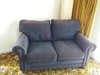 Two 2-seater settees - blue