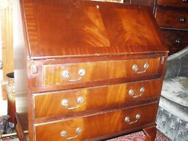 flame fronted mahogany fitted bureaux/desk
