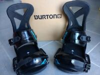 Burton Custom EST snowboard bindings, L, black/blue, excellent condition like new