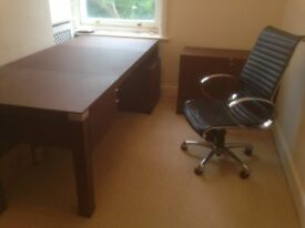 Ikea bureau desk with shelves and storage stool in wandsworth