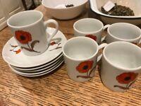 Small Tea / Coffee cup set - Avon Poppies