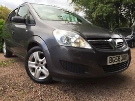 *12 MTHS WARRANTY*12 MTHS MOT*2009 VAUXHALL ZAFIRA 1.6.EXCLUSIVE 16V MPV 7 SEATER WITH ONLY 56K FSH*