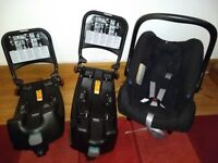 Two isofix bases and 0+ britax romer baby safe car seat