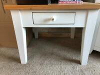 Solid light oak painted coffee lamp table