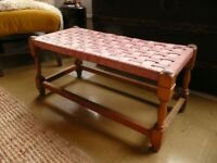 Vintage Arts and Craft Wooden Woven Footstool Bench Seat