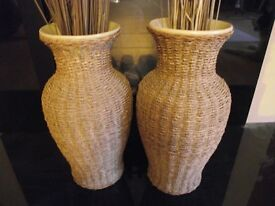 Pair of wicker / sea grass and china vases