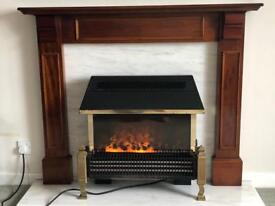 Electric fire with surround and marble backing and hearth