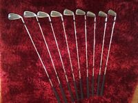 Full set of McGregor Powersole irons. Large head driver. Putter and golf bag. Great condition