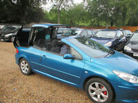 PEUGEOT 307 CC CONVERTIBLE 1.6 PETROL 2 FORMER KEEPERS 1 YEAR MOT 3 KEYS HPI CLEAR WARRANTED MILEAGE