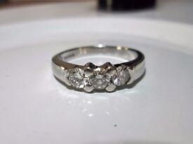Heavy 950 Platinum .50ct Diamond Trilogy Engagement Ring Size J