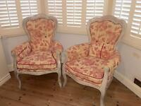 2 x beautiful, french, shabby chic armchairs