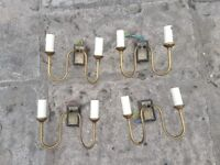 4 matching aged brass wall lights. Classic swan neck style, candle fittings with back plate.