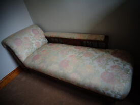 Chaise longue - Original Antique recovered in Damask fabric