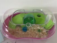 HAMSTER CAGE - INCLUDES WHEEL, FOOD BOWL, BOTTLE, RUNNER BALL + FREE SAWDUST, BEDDING & FOOD!