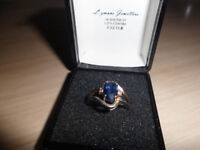 9ct white gold ring & sapphire . size m/n