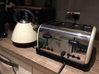 Cream Kettle & 4 Slice toaster