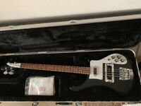 Rickenbacher bass 4003 Jetglo Guitar & Case Matt Black Excellent