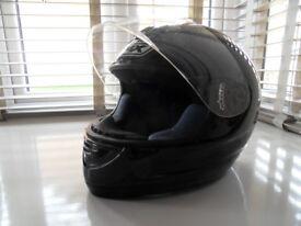 size large black full face helmet . box brand