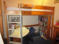 Stompa High Sleeper with Study Desk and Bookcase - LANCS