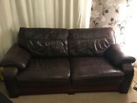 *Free* Brown leather 3 seater sofa