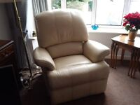 Full leather cream reclining armchair