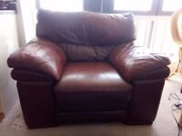 Brown leather sofa & leg rest from Cousins. Used, Minimal wear and tear. Collection Solihull