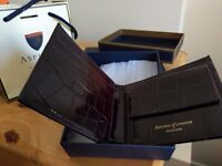 Brand new boxed Aspinal of London Billfold Wallet in Deep Shine Black Croc & Suede